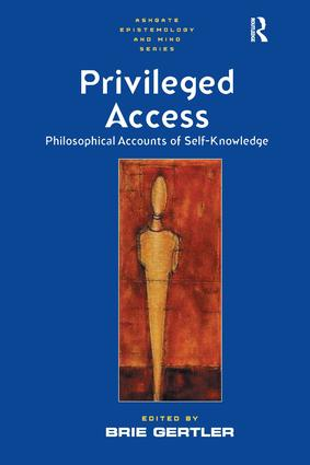Privileged Access: Philosophical Accounts of Self-Knowledge book cover