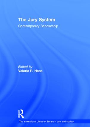 The Jury System: Contemporary Scholarship, 1st Edition (Hardback) book cover