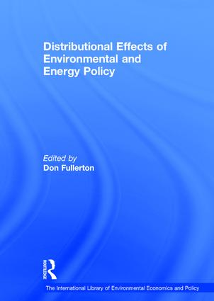 Distributional Effects of Environmental and Energy Policy: 1st Edition (Hardback) book cover