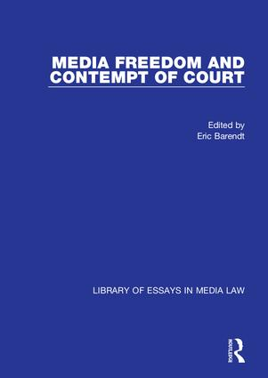 Media Freedom and Contempt of Court: 1st Edition (Hardback) book cover
