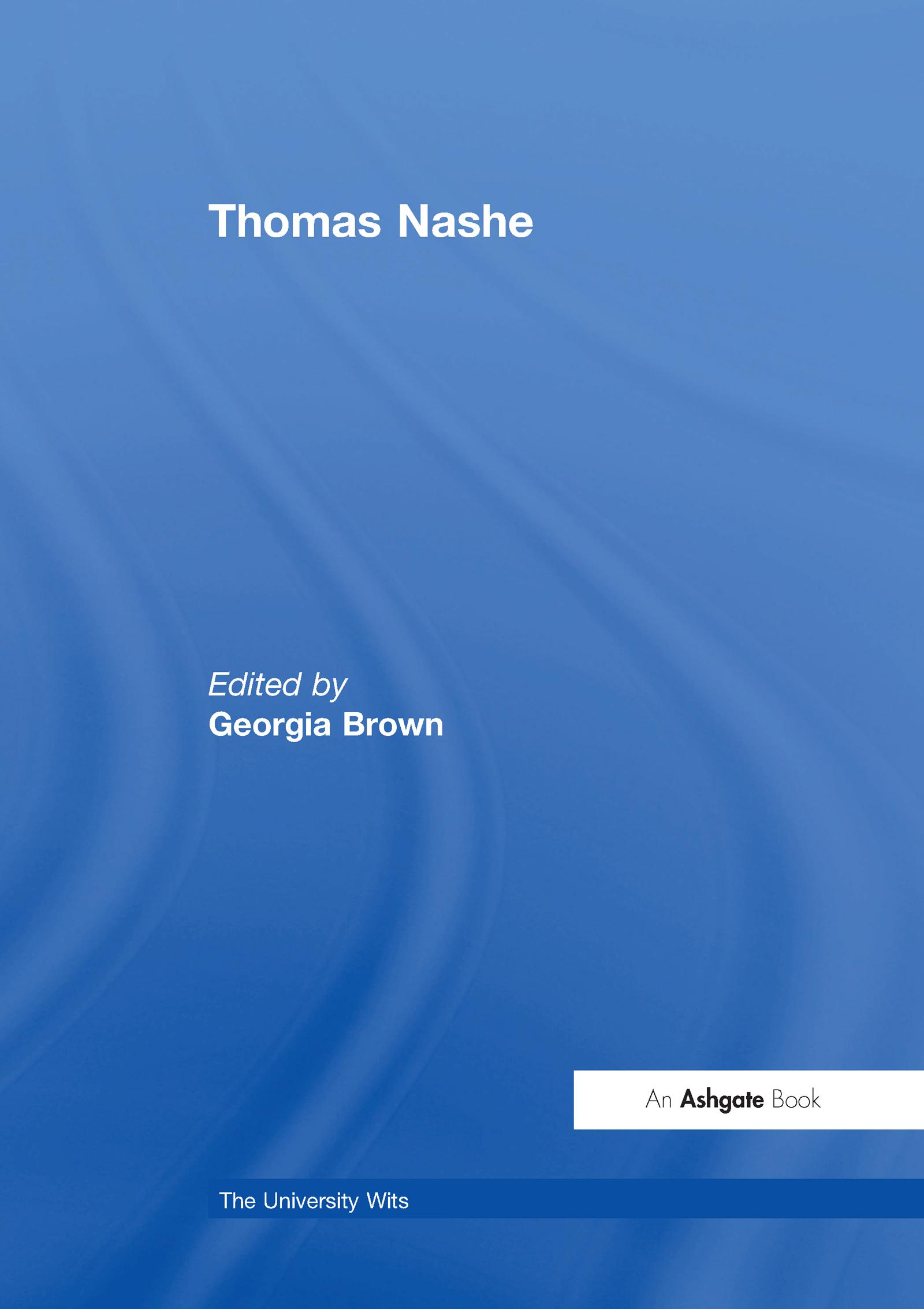 Thomas Nashe: 1st Edition (Hardback) book cover