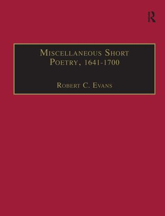 Miscellaneous Short Poetry, 1641–1700: Printed Writings 1641–1700: Series II, Part Three, Volume 4 book cover