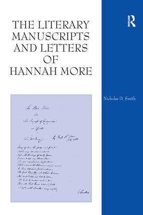 The Literary Manuscripts and Letters of Hannah More: 1st Edition (Hardback) book cover