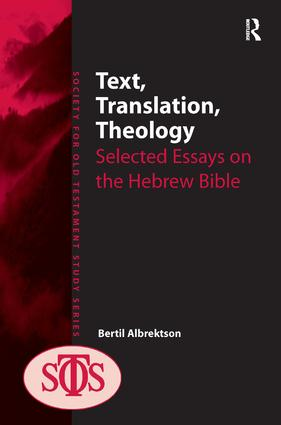 Text, Translation, Theology: Selected Essays on the Hebrew Bible, 1st Edition (Hardback) book cover