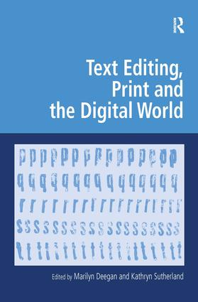 Text Editing, Print and the Digital World book cover