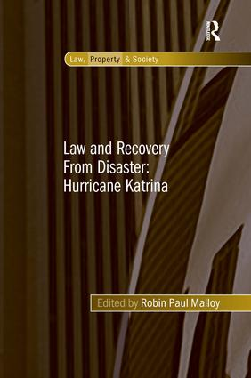 Law and Recovery From Disaster: Hurricane Katrina: 1st Edition (Hardback) book cover