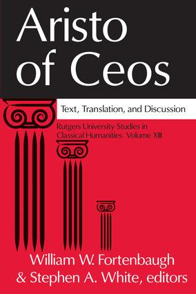Aristo of Ceos: Text, Translation, and Discussion book cover