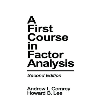 A First Course in Factor Analysis: 2nd Edition (e-Book) book cover