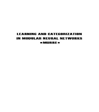 Learning and Categorization in Modular Neural Networks (Paperback) book cover