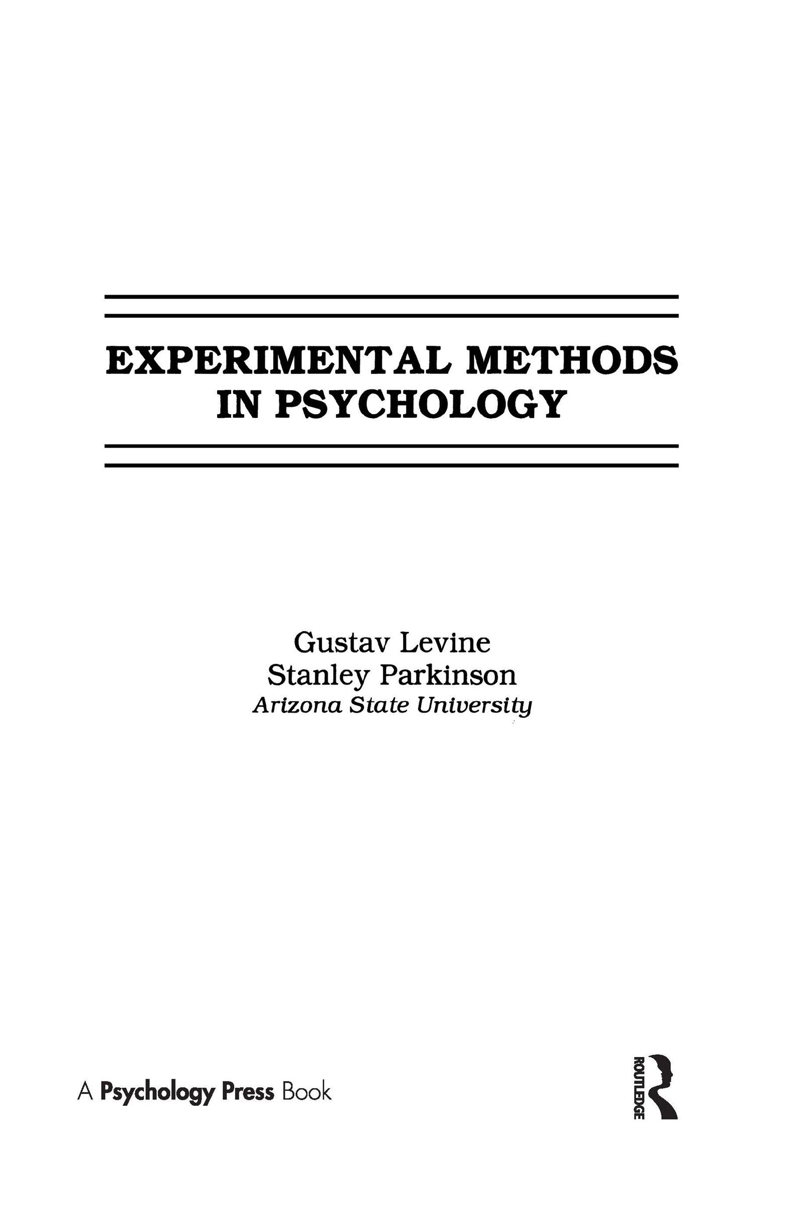 Experimental Methods in Psychology (Hardback) book cover