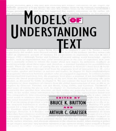 Models of Understanding Text (e-Book) book cover