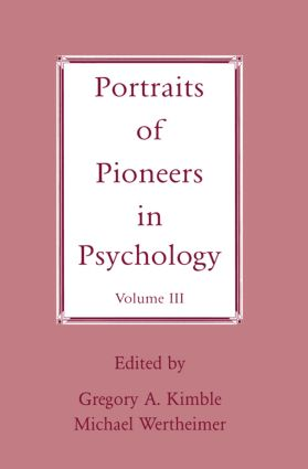 Portraits of Pioneers in Psychology: Volume III, 1st Edition (Paperback) book cover