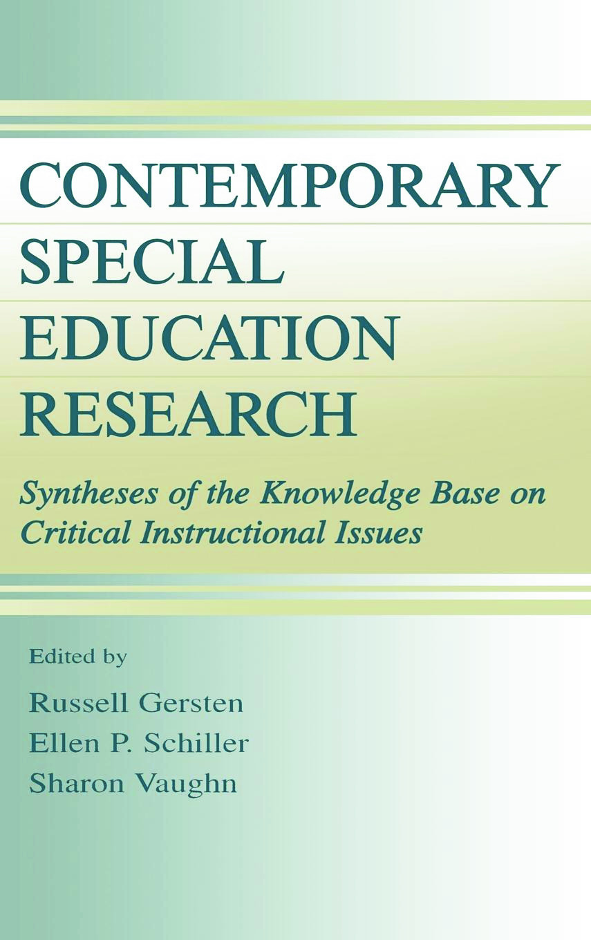 Contemporary Special Education Research: Syntheses of the Knowledge Base on Critical Instructional Issues book cover
