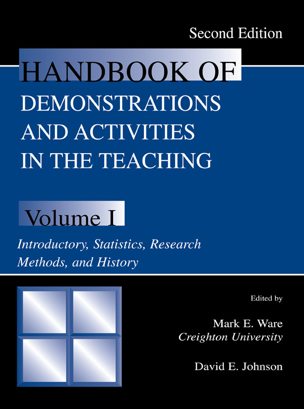 Handbook of Demonstrations and Activities in the Teaching of Psychology, Second Edition: Volume I: Introductory, Statistics, Research Methods, and History, 2nd Edition (Paperback) book cover