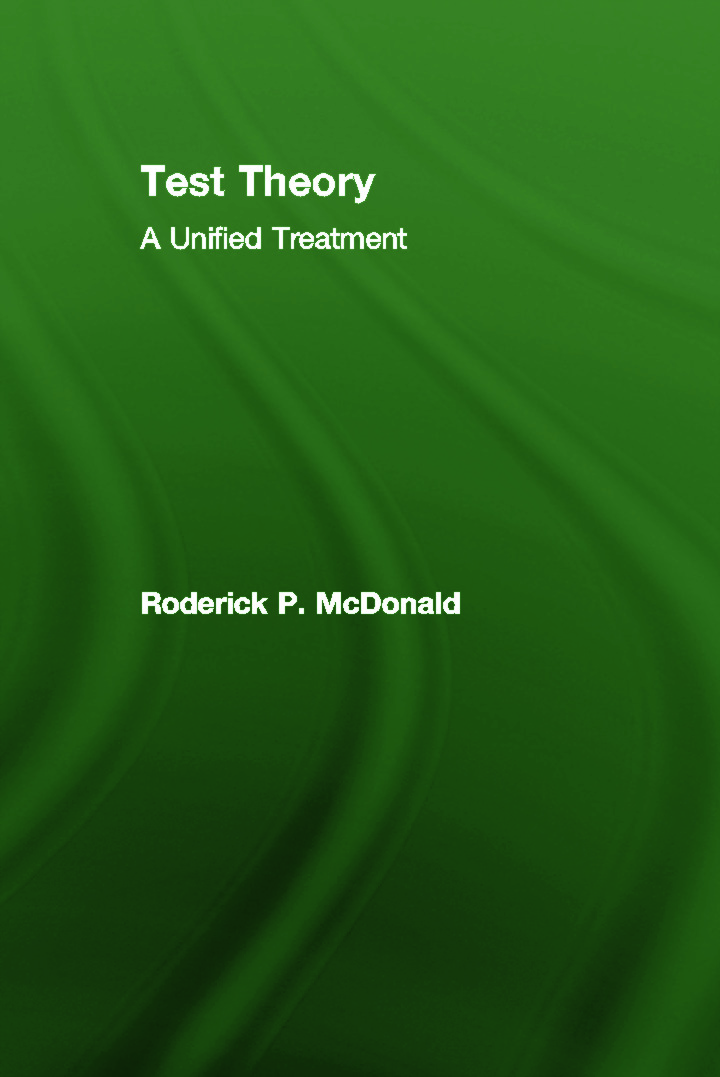 Test Theory: A Unified Treatment (Hardback) book cover