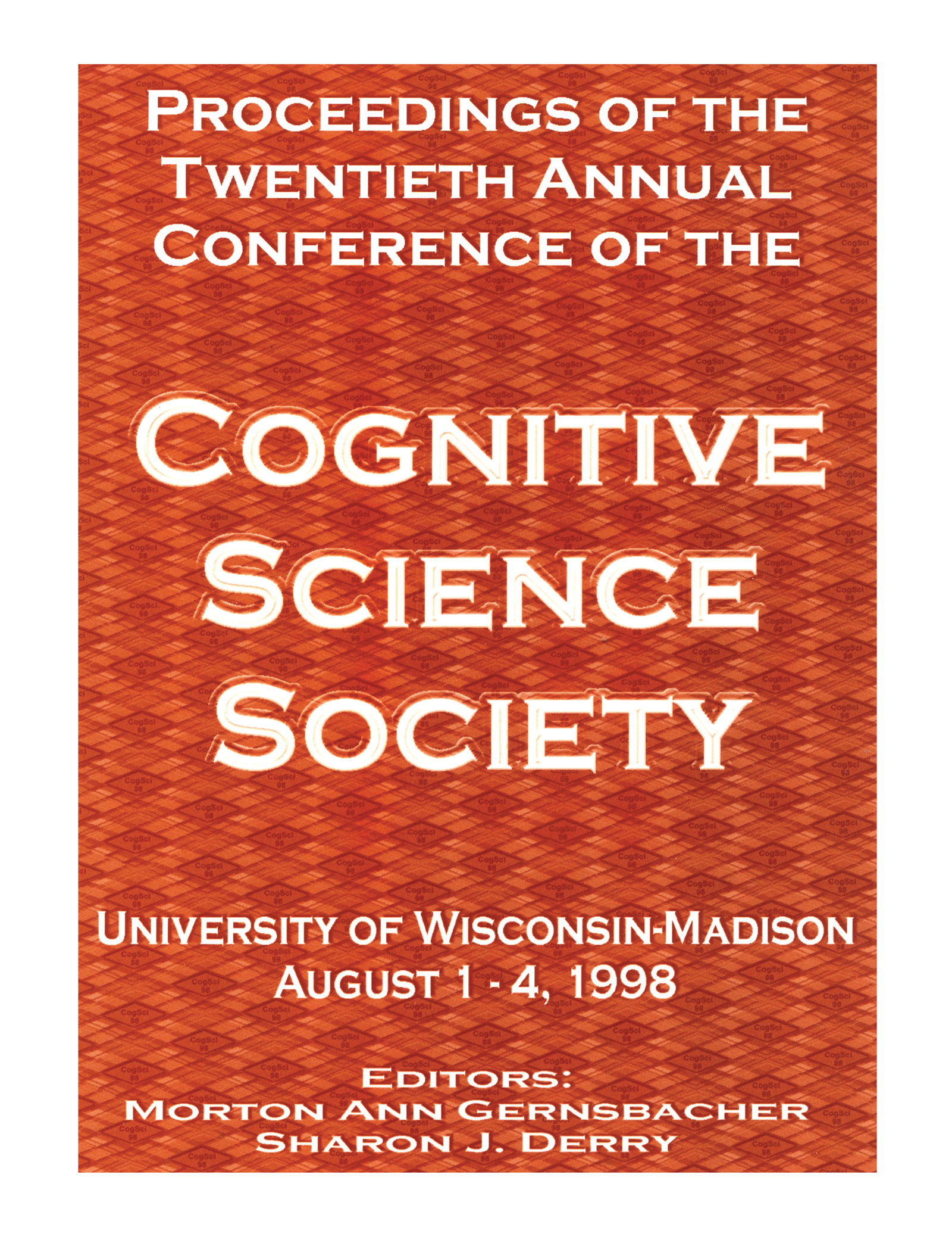 Proceedings of the Twentieth Annual Conference of the Cognitive Science Society: 1st Edition (Paperback) book cover