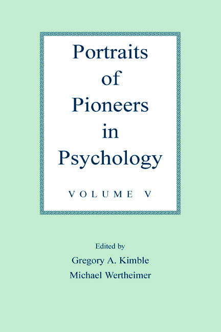 Portraits of Pioneers in Psychology: Volume V book cover