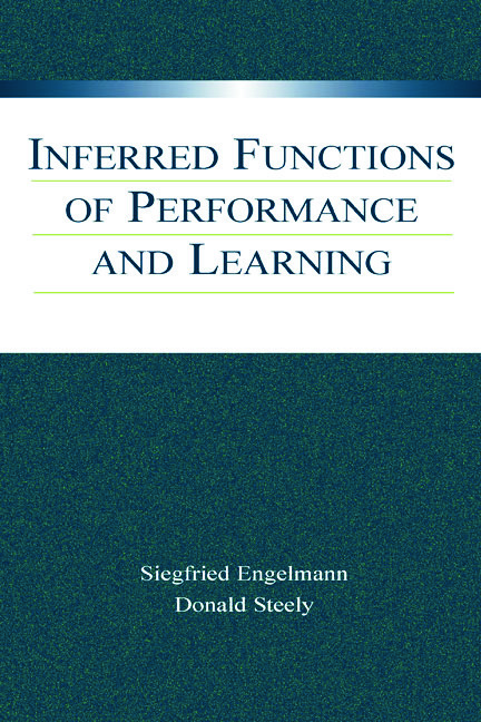 Inferred Functions of Performance and Learning (Hardback) book cover
