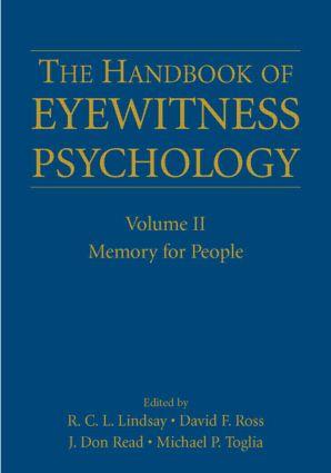 The Handbook of Eyewitness Psychology: Volume II: Memory for People (Hardback) book cover