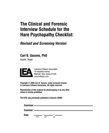 A Clinical and Forensic Interview Schedule for the Hare Psychopathy Checklist: Revised and Screening Version (Paperback) book cover