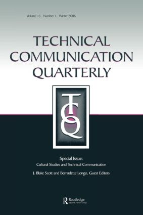 Cultural Studies And Technical Communication Tcq V15#1: 1st Edition (Paperback) book cover