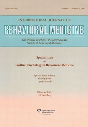 An Exploration of the Health Benefits of Factors That Help Us to Thrive: A Special Issue of the International Journal of Behavioral Medicine (Paperback) book cover
