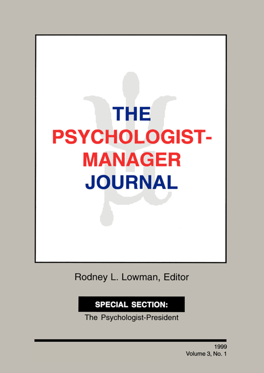 The Psychologist-Manager Journal: Volume 3, Number 1, 1st Edition (Paperback) book cover