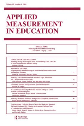 Vertically Moderated Standard Setting: A Special Issue of applied Measurement in Education, 1st Edition (Paperback) book cover