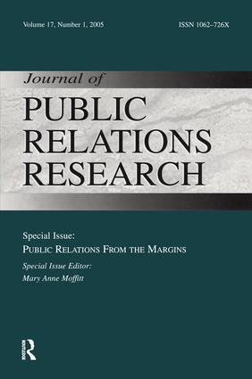 Public Relations From the Margins: A Special Issue of the Journal of Public Relations Research book cover