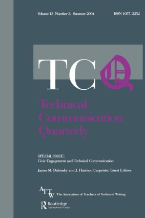 Civic Engagement and Technical Communication: A Special Issue of Technical Communication Quarterly, 1st Edition (Paperback) book cover