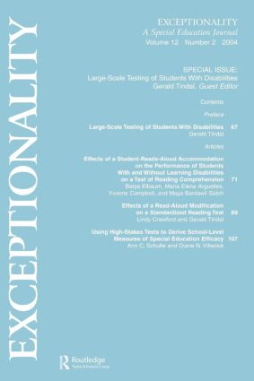 Large-scale Testing of Students With Disabilities: A Special Issue of exceptionality, 1st Edition (Paperback) book cover