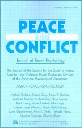 Asian Peace Psychology: A Special Issue of Peace and Conflict, 1st Edition (Paperback) book cover