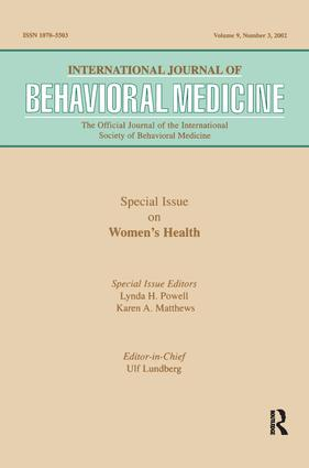 -Special Issue on Women's Health: A Special Issue of the International Journal of Behavioral Medicine (Paperback) book cover