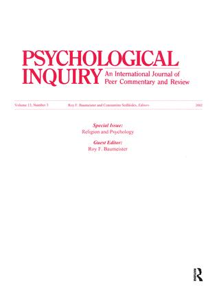 Religion and Psychology: A Special Issue of Psychological Inquiry, 1st Edition (Paperback) book cover