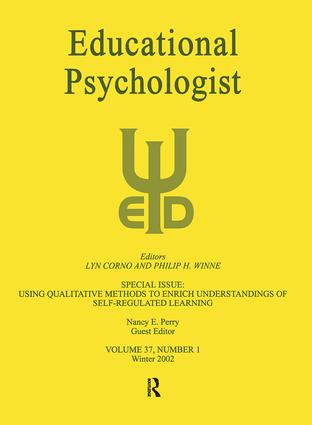 Using Qualitative Methods To Enrich Understandings of Self-regulated Learning: A Special Issue of educational Psychologist, 1st Edition (Paperback) book cover