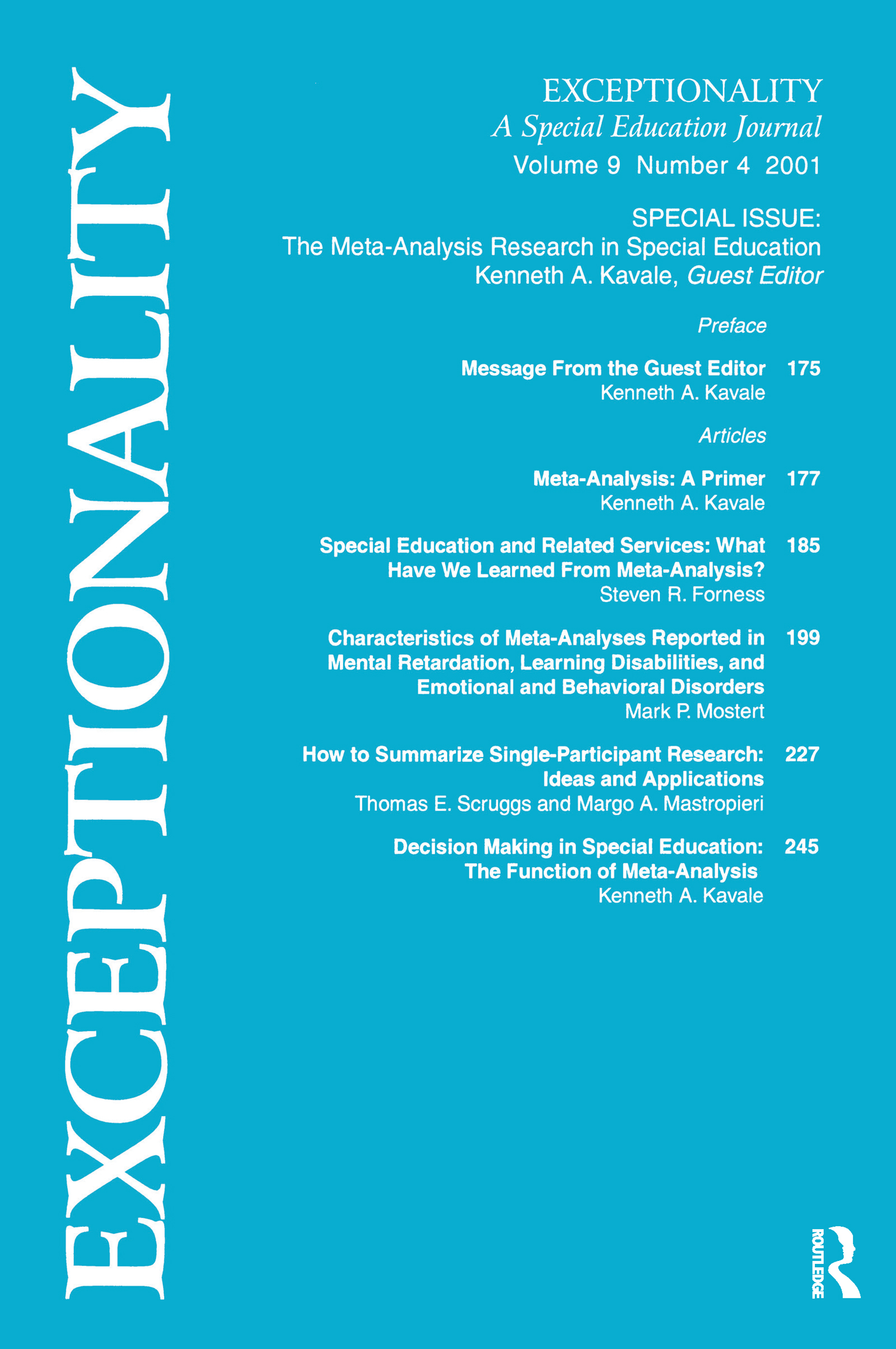 The Meta-Analysis Research in Special Education: A Special Issue of Exceptionality, 1st Edition (Paperback) book cover