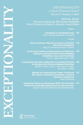 Educating Individuals With Severe Disabilities: A Special Issue of exceptionality, 1st Edition (Paperback) book cover