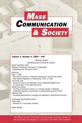Advertising and Consumer Culture: A Special Issue of Mass Communication & Society, 1st Edition (Paperback) book cover