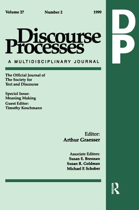 Meaning Making: A Special Issue of Discourse Processes, 1st Edition (Paperback) book cover