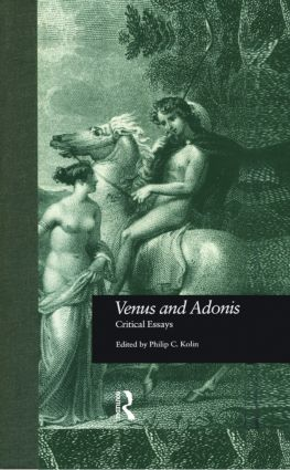 Venus and Adonis: Critical Essays book cover