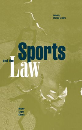 Sports and the Law: Major Legal Cases book cover
