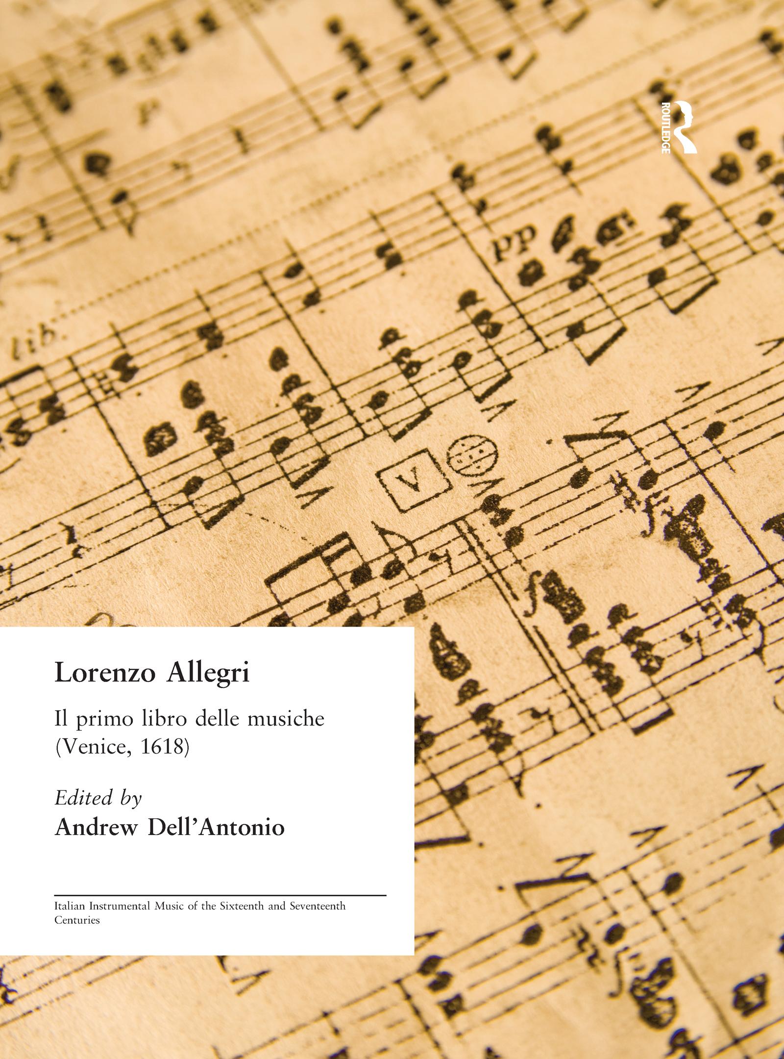 Lorenzo Allegri: Il primo libro delle musiche. . . (Venice, 1618) book cover