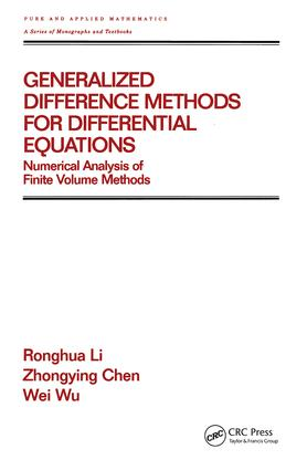 Generalized Difference Methods for Differential Equations: Numerical Analysis of Finite Volume Methods (Hardback) book cover
