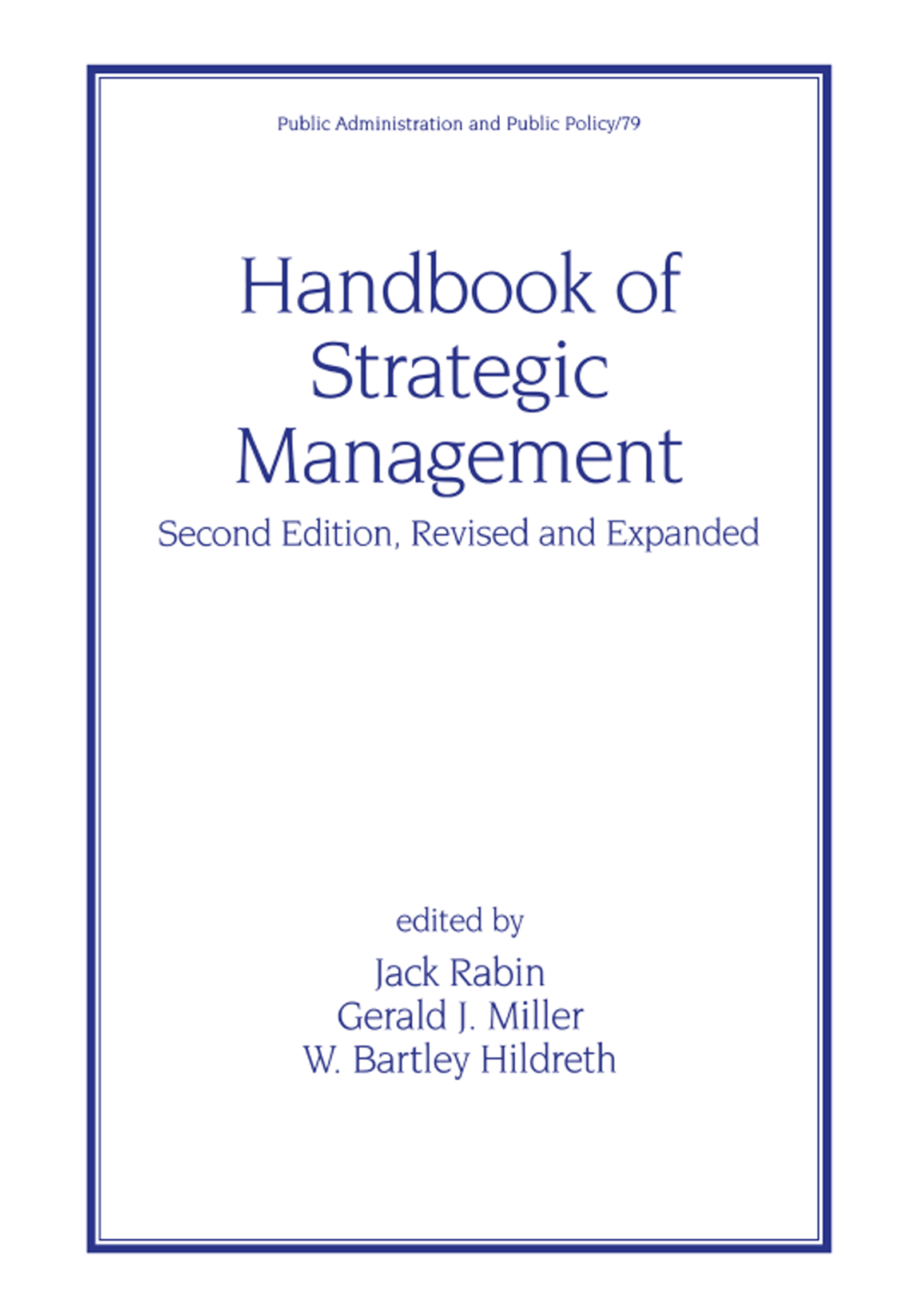 Handbook of Strategic Management: 2nd Edition (Hardback) book cover