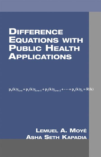 Difference Equations with Public Health Applications: 1st Edition (e-Book) book cover