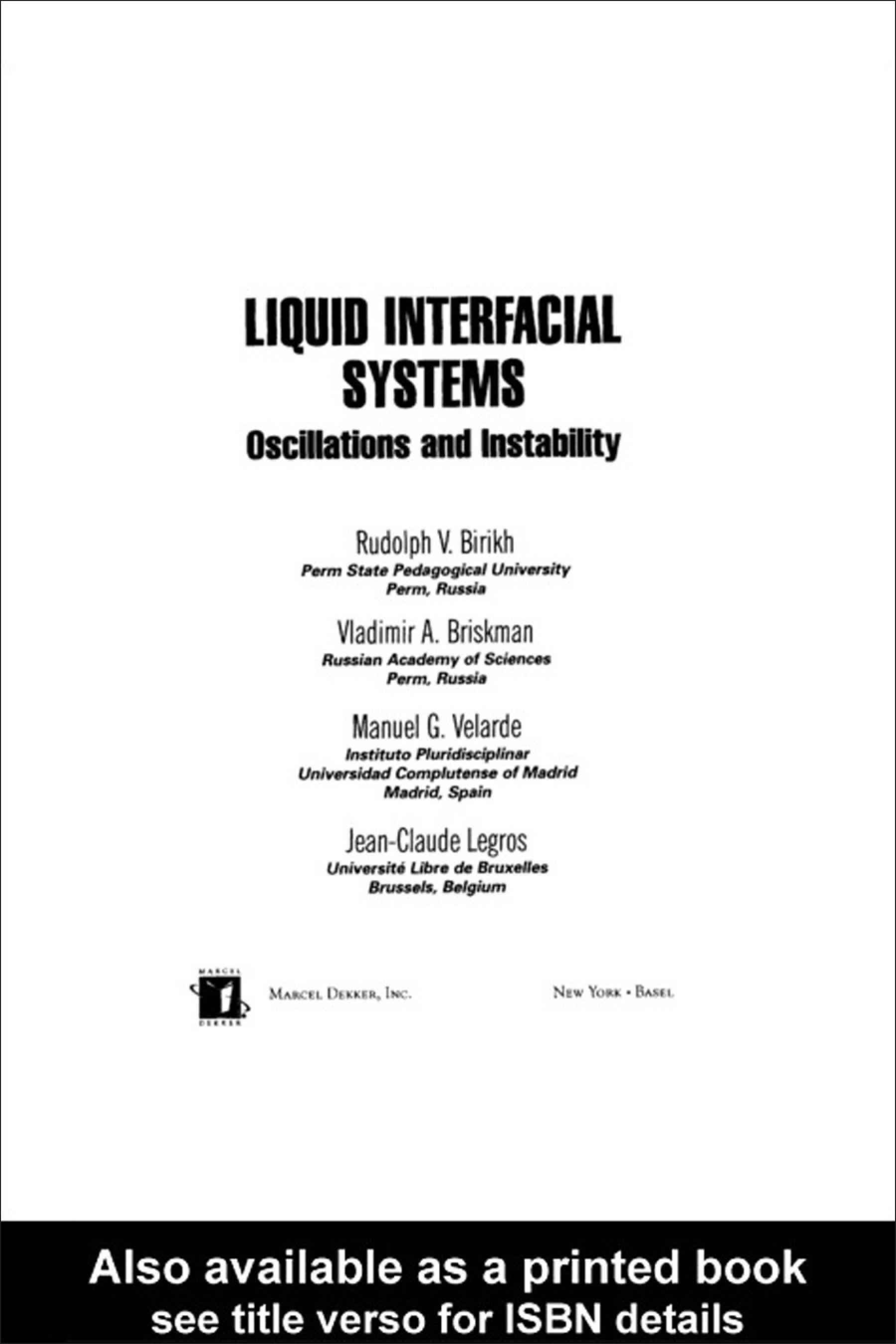 Liquid Interfacial Systems: Oscillations and Instability book cover