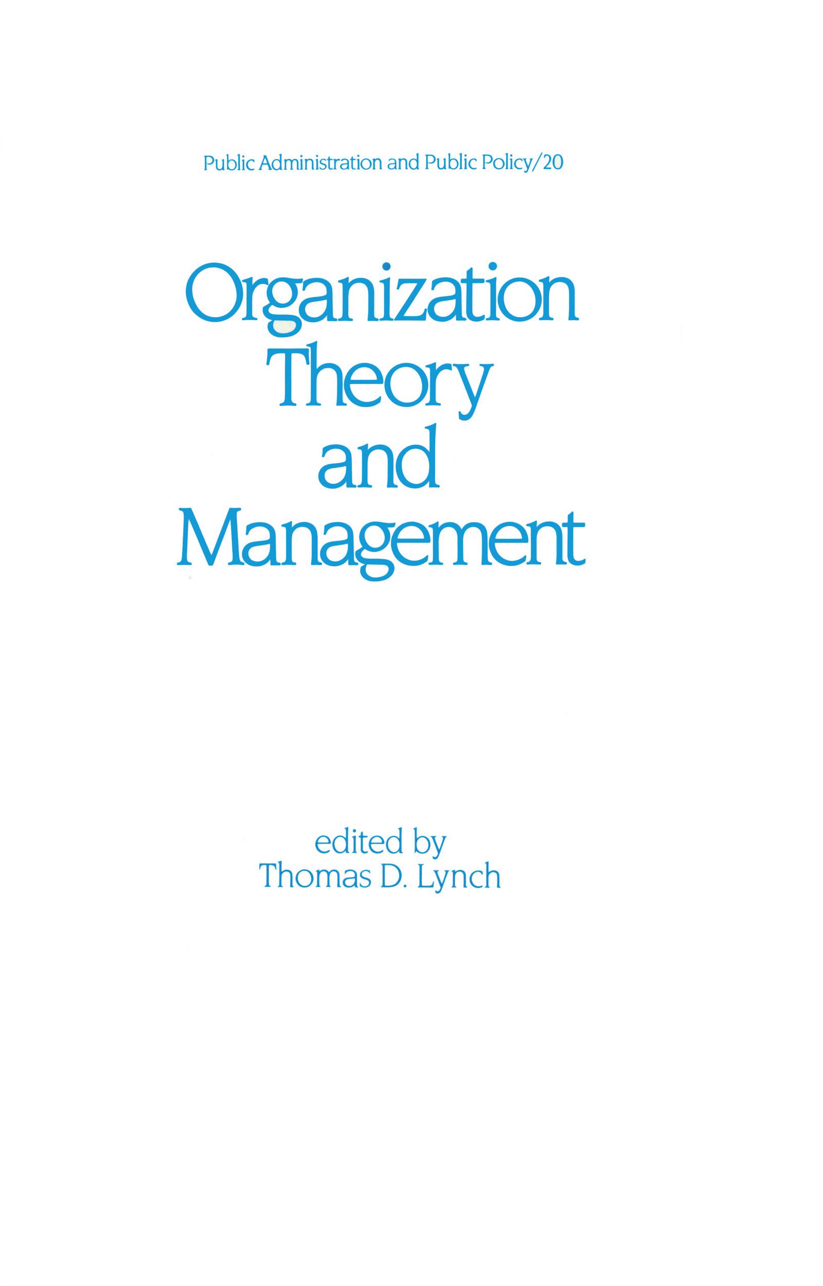 Organization Theory and Management