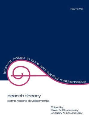 Search Theory: Some Recent Developments, 1st Edition (Paperback) book cover