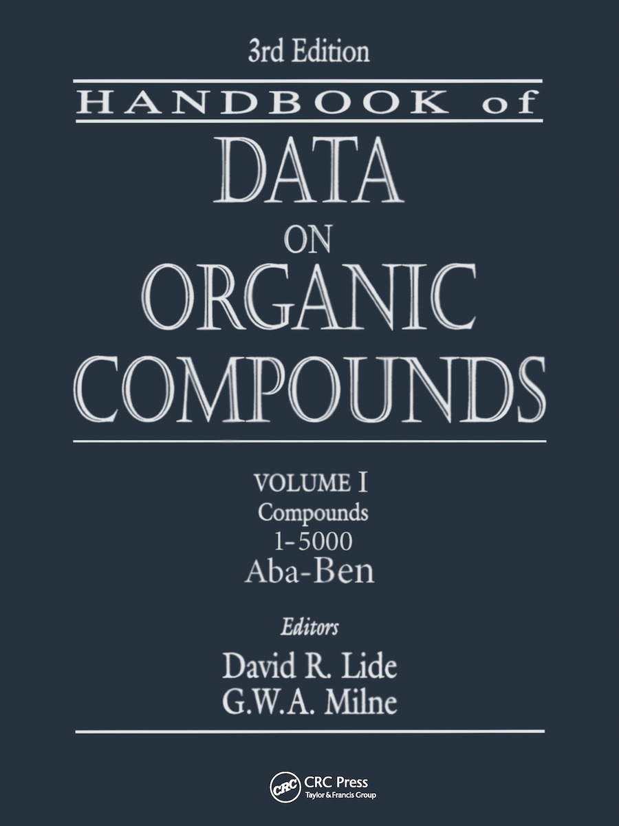 CRC Handbook of Data on Organic Compounds: 3rd Edition (Hardback) book cover