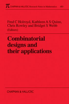 Combinatorial Designs and their Applications book cover